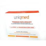 Seringa para Insulina Uniqmed 0,5mL (50UI) Agulha 5x0,23mm 32G - Caixa com 100 seringas embaladas individualmente