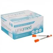 Seringa para Insulina Uniqmed 0,5mL (50UI) Agulha 8x0,3mm 30G - Caixa com 100 seringas