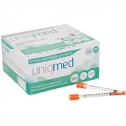 Seringa para Insulina Uniqmed 1mL (100UI) Agulha 6x0,25mm 31G - Caixa com 100 seringas
