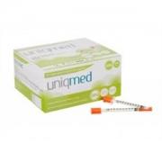 Seringa para Insulina Uniqmed 1mL (100UI) Agulha 8x0,3mm 30G - Caixa com 100 seringas