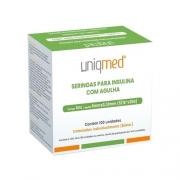 Seringa para Insulina Uniqmed 1mL (100UI) Agulha 8x0,3mm 30G embaladas individualmente  - Caixa com 100 seringas