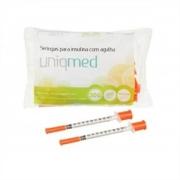 Seringa para Insulina Uniqmed 1mL (100UI) Agulha 8x0,3mm 30G - Pacote com 10 seringas