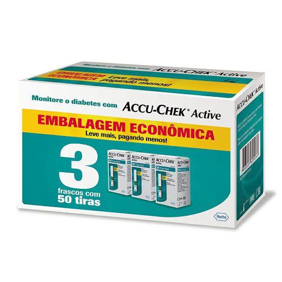 Accu-Chek Active Embalagem Econômica - 3 caixas com 50 tiras reagentes  - Diabetes On - Vendido e Entregue por Diabetic Center