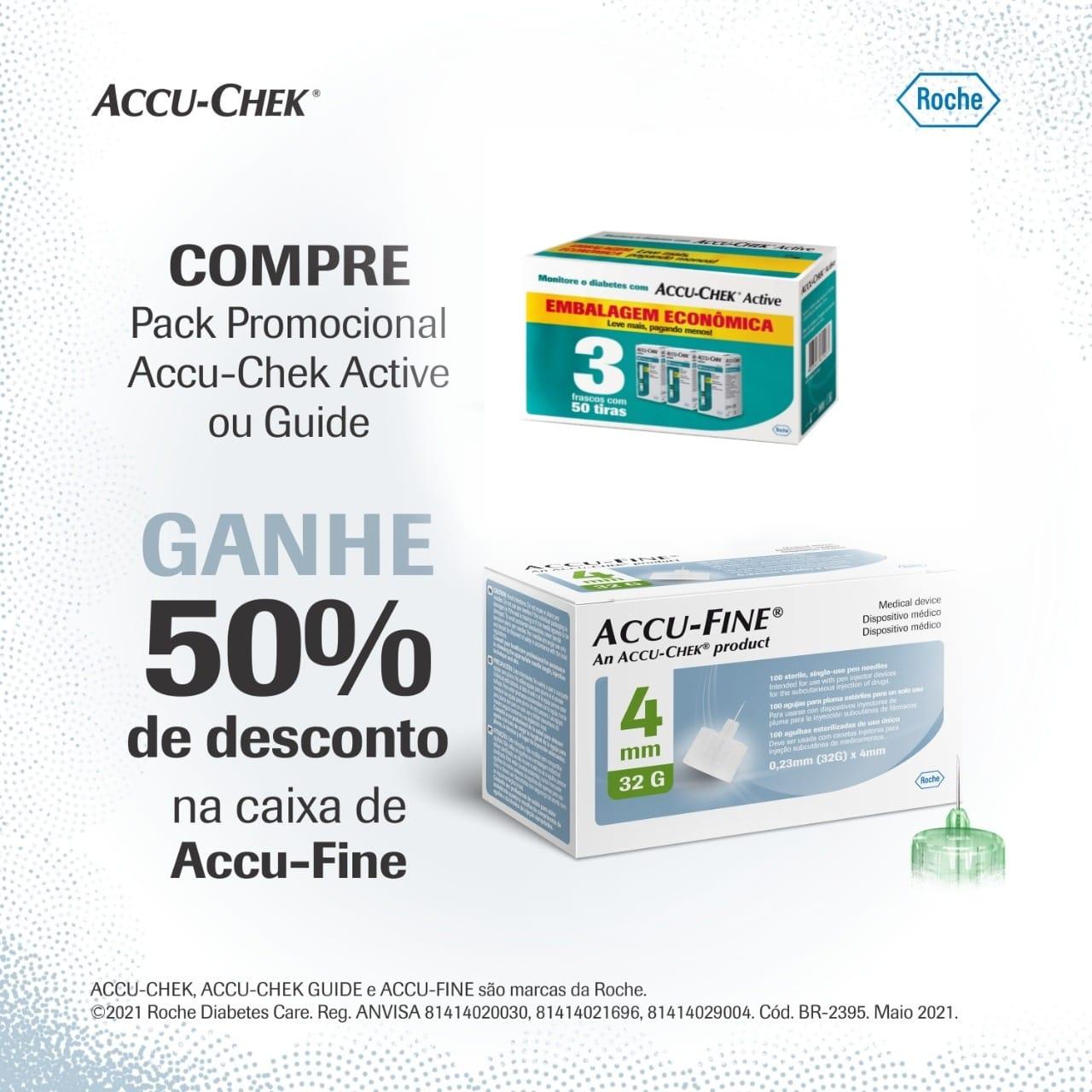 Accu-Chek Active Embalagem Econômica - 3 caixas com 50 tiras (validade tiras 04.22) + Accu -fine 4mm c/ 100 agulhas  - Diabetes On - Vendido e Entregue por Diabetic Center