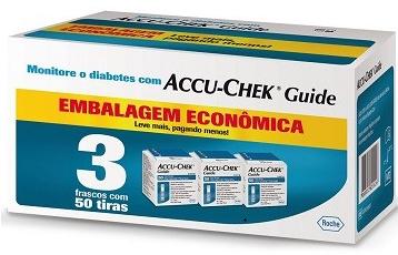 Accu-Chek Guide Embalagem Econômica - 3 caixas com 50 tiras reagentes  - Diabetes On - Vendido e Entregue por Diabetic Center