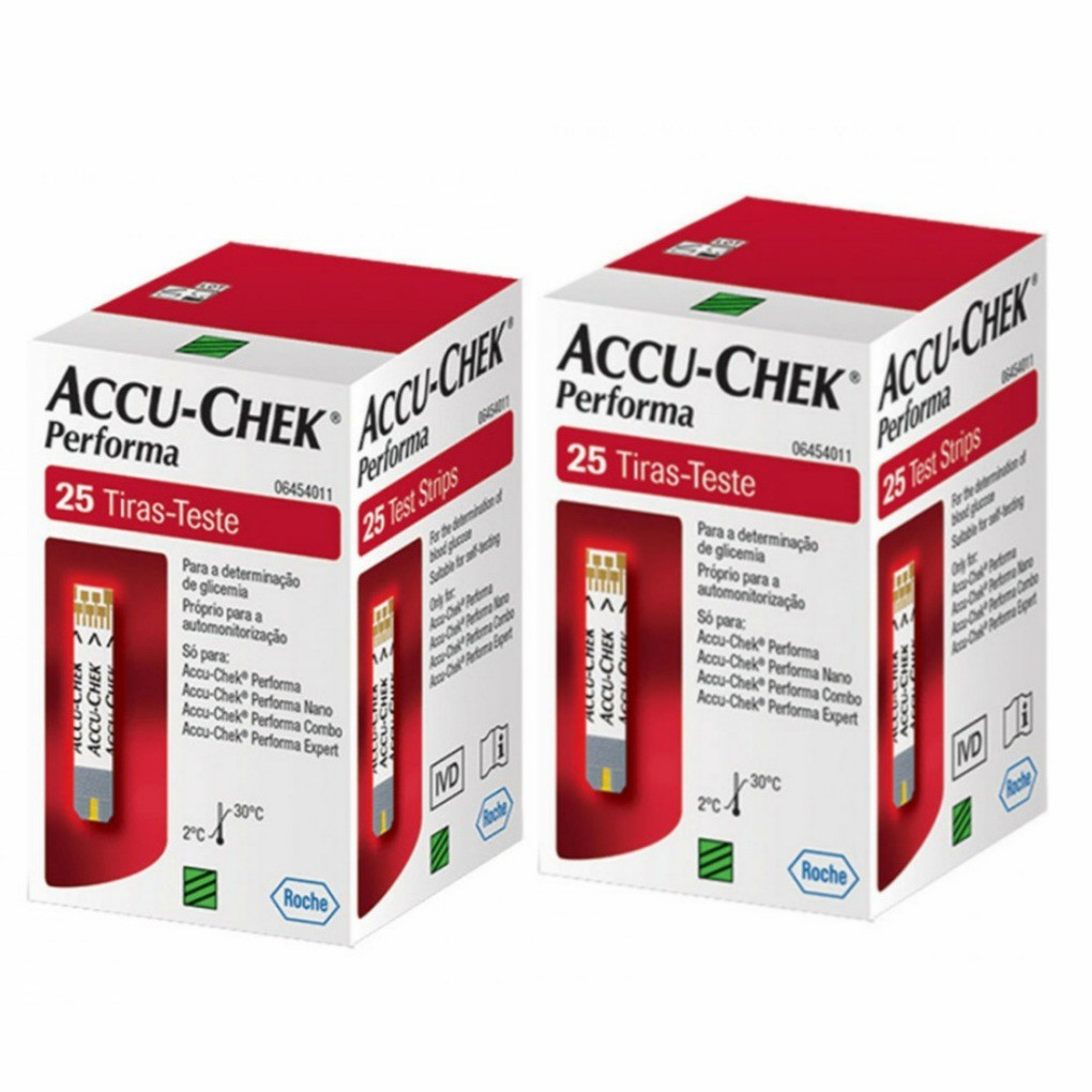 Accu-Chek Performa Tiras com 50 (2 cxs de 25 tiras) - Sem Chip (validade 01.2021)  - Diabetes On - Vendido e Entregue por Diabetic Center