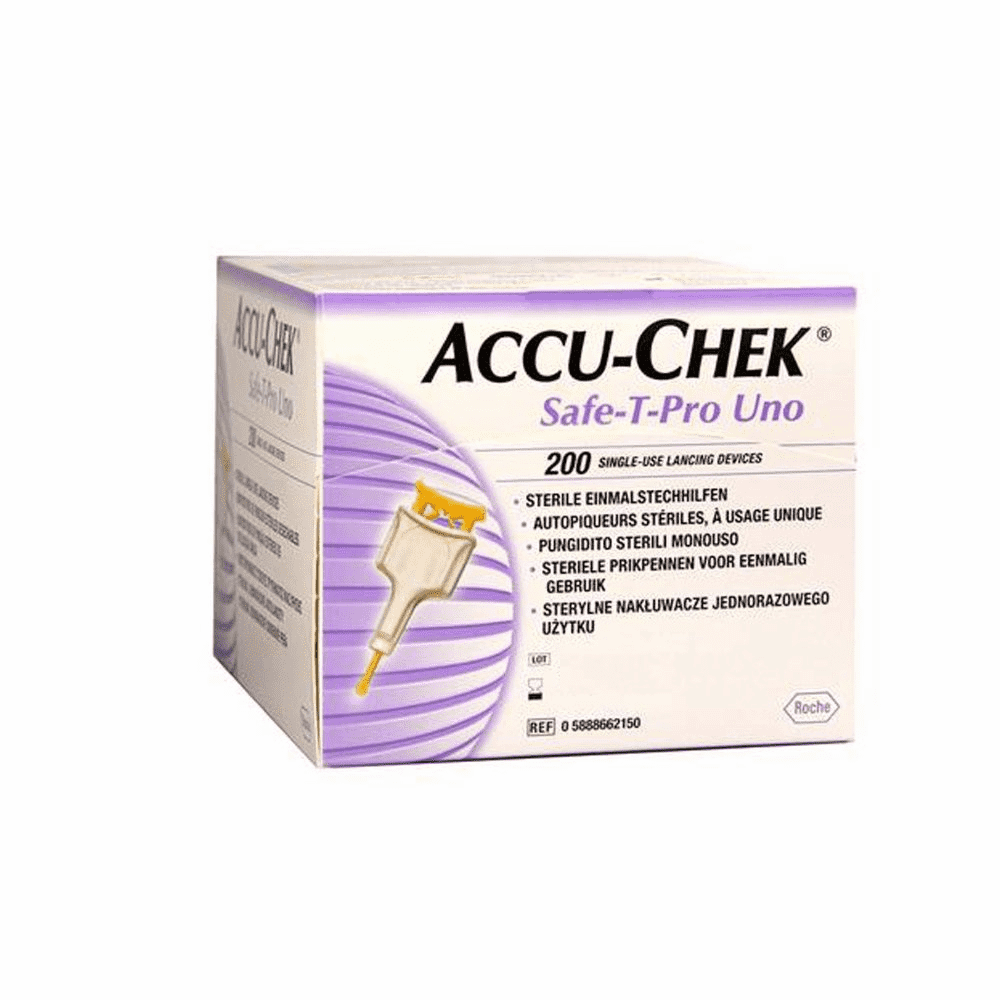 Accu-Chek Safe-T-Pro Uno c/200 Lancetas Esterilizadas  - Diabetes On - Vendido e Entregue por Diabetic Center