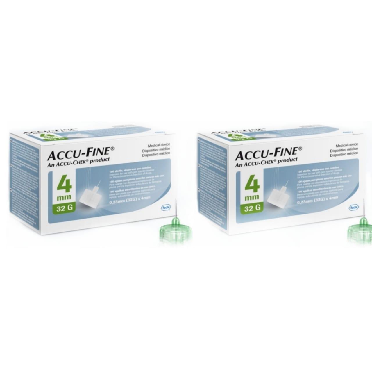 Accu-Fine 4mm 2 CAIXAS com 100 agulhas para aplicação de insulina  - Diabetes On - Vendido e Entregue por Diabetic Center