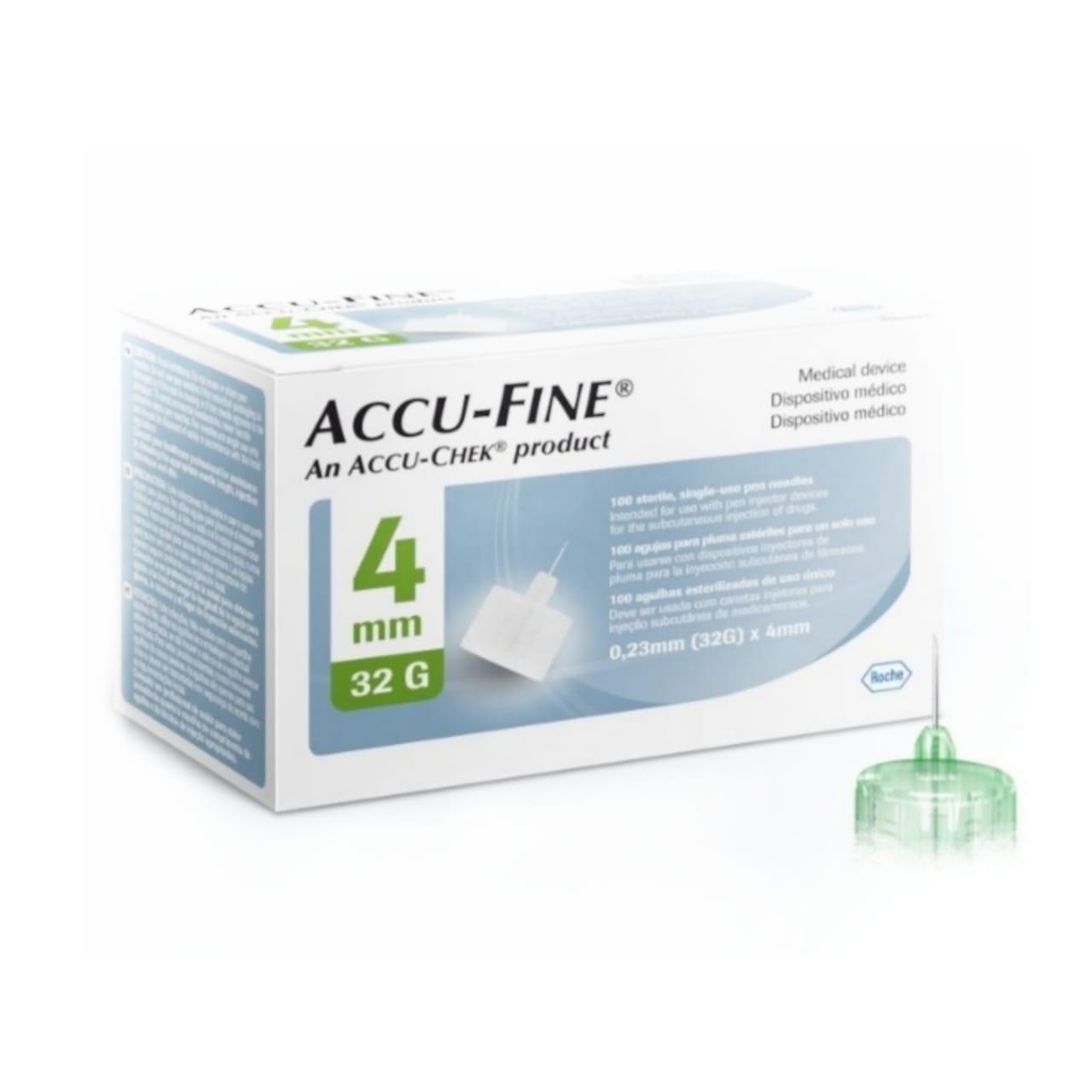 Accu-Fine 4mm com 100 agulhas para aplicação de insulina  - Diabetes On - Vendido e Entregue por Diabetic Center