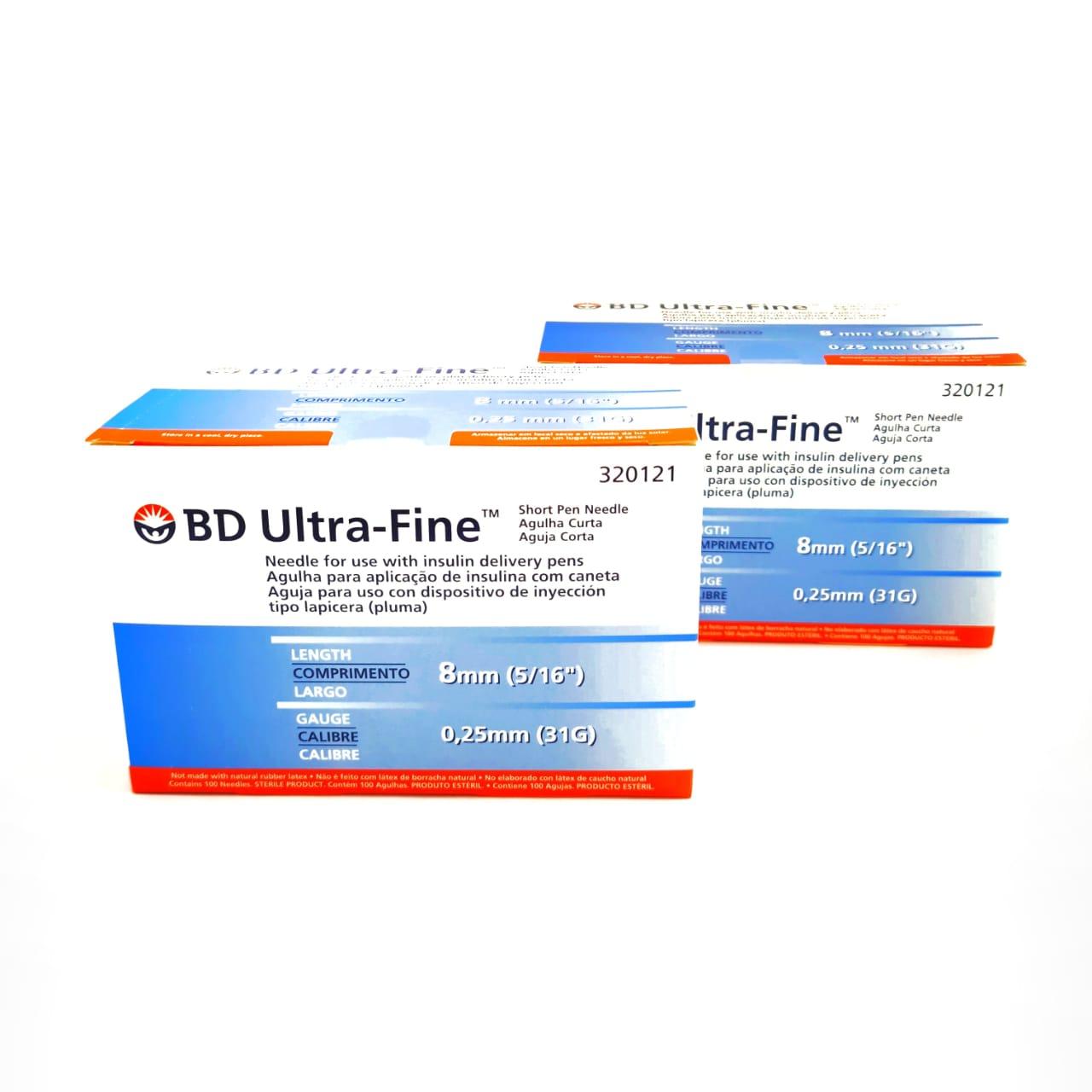 Agulha para Caneta BD Ultra Fine 8mm 2 Caixas com 100 Unidades  - Diabetes On - Vendido e Entregue por Diabetic Center