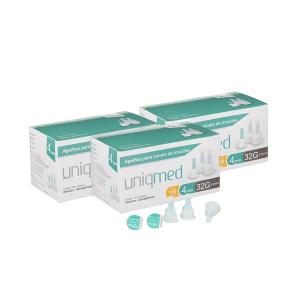 Agulhas Caneta de Insulina UNIQMED 4mm c/ 100 Unidades PROMOPACK C/ 3 CAIXAS  - Diabetes On - Vendido e Entregue por Diabetic Center