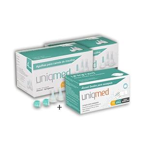 Agulhas Caneta de Insulina UNIQMED 4mm com 100 Unidades PROMOPACK C/ 2 CAIXAS + 1 CX de Álcool Swabs GRÁTIS  - Diabetes On - Vendido e Entregue por Diabetic Center