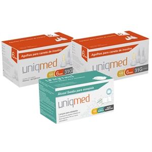 Agulhas Caneta de Insulina UNIQMED 6mm c/ 100 Unidades - PROMOPACK C/ 2 CAIXAS + 1 CX de Álcool Swabs GRÁTIS  - Diabetes On - Vendido e Entregue por Diabetic Center