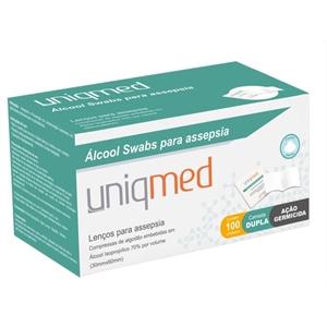 Alcool Swabs Uniqmed com 100 saches  - Diabetes On - Vendido e Entregue por Diabetic Center