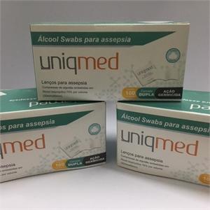 Alcool Swabs Uniqmed com 100 saches - PROMOPACK com 3 caixas  - Diabetes On - Vendido e Entregue por Diabetic Center