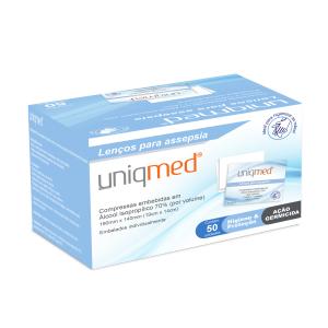 Lenço para Assepsia Uniqmed com 50 saches (19cm x 14cm)  - Diabetes On - Vendido e Entregue por Diabetic Center