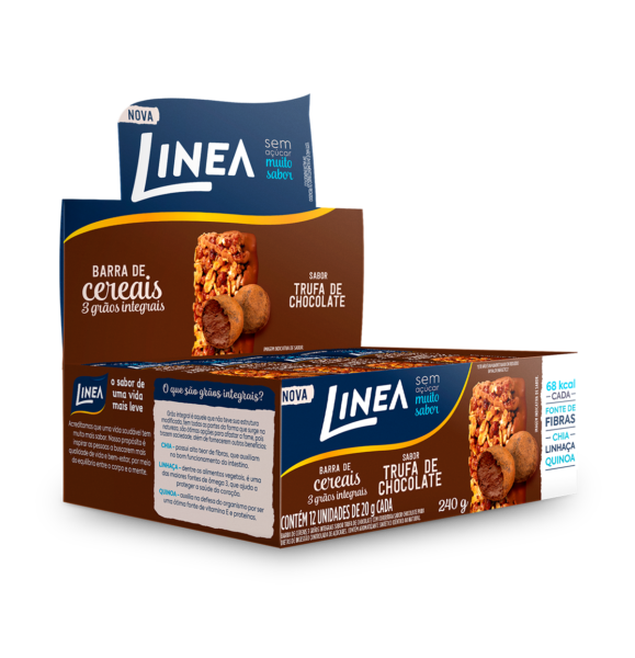 Barra de Cereais 3 Grãos Integrais Trufa de Chocolate Linea - 12 unidades  - Diabetes On - Vendido e Entregue por Diabetic Center