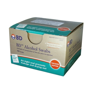 BD-Alcool Swabs Saches com 100 - almofada para assepsia com álcool a 70%  - Diabetes On - Vendido e Entregue por Diabetic Center