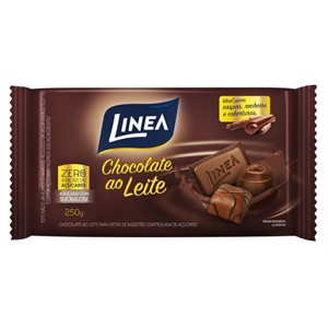 Chocolate Ao Leite Zero Açucar Linea Sucralose 250g  - Diabetes On - Vendido e Entregue por Diabetic Center
