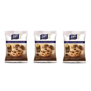 Cookies com castanha e chocolate zero açúcar Linea - 3 pacotes x 40g  - Diabetes On - Vendido e Entregue por Diabetic Center