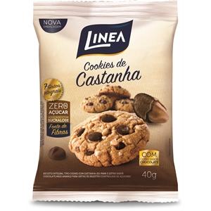 Cookies com castanha e chocolate zero açúcar Linea - Cx. 10x40g  - Diabetes On - Vendido e Entregue por Diabetic Center