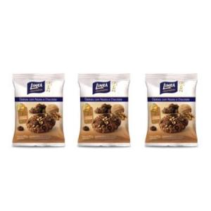 Cookies com nozes e chocolate zero açúcar Linea - 3 pacotes x 40g  - Diabetes On - Vendido e Entregue por Diabetic Center