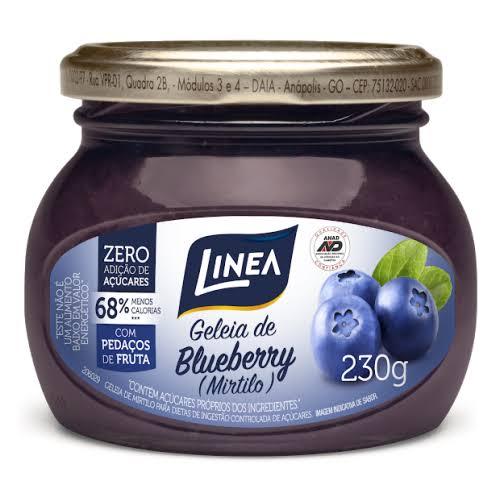 Geleia de mirtilo (BlueBerry) zero açúcar Linea - Vidro 230g  - Diabetes On - Vendido e Entregue por Diabetic Center