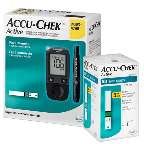 Kit Accu-Chek Active (1 monitor, 1 lancetador, 10 lancetas, 10 tiras) + 50 tiras  - Diabetes On - Vendido e Entregue por Diabetic Center