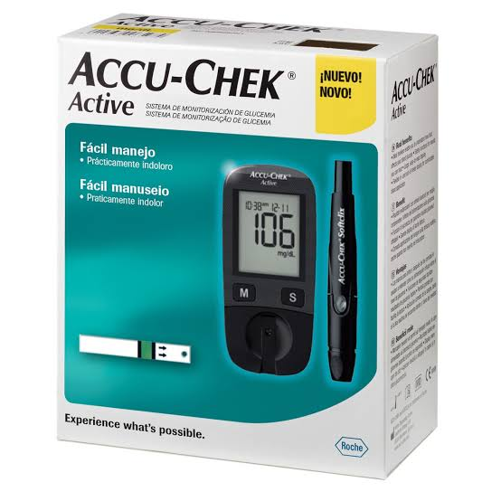 Kit Accu-Chek Active (kit com 1 monitor, 1 lancetador, 10 lancetas, 10 tiras e estojo)  - Diabetes On - Vendido e Entregue por Diabetic Center