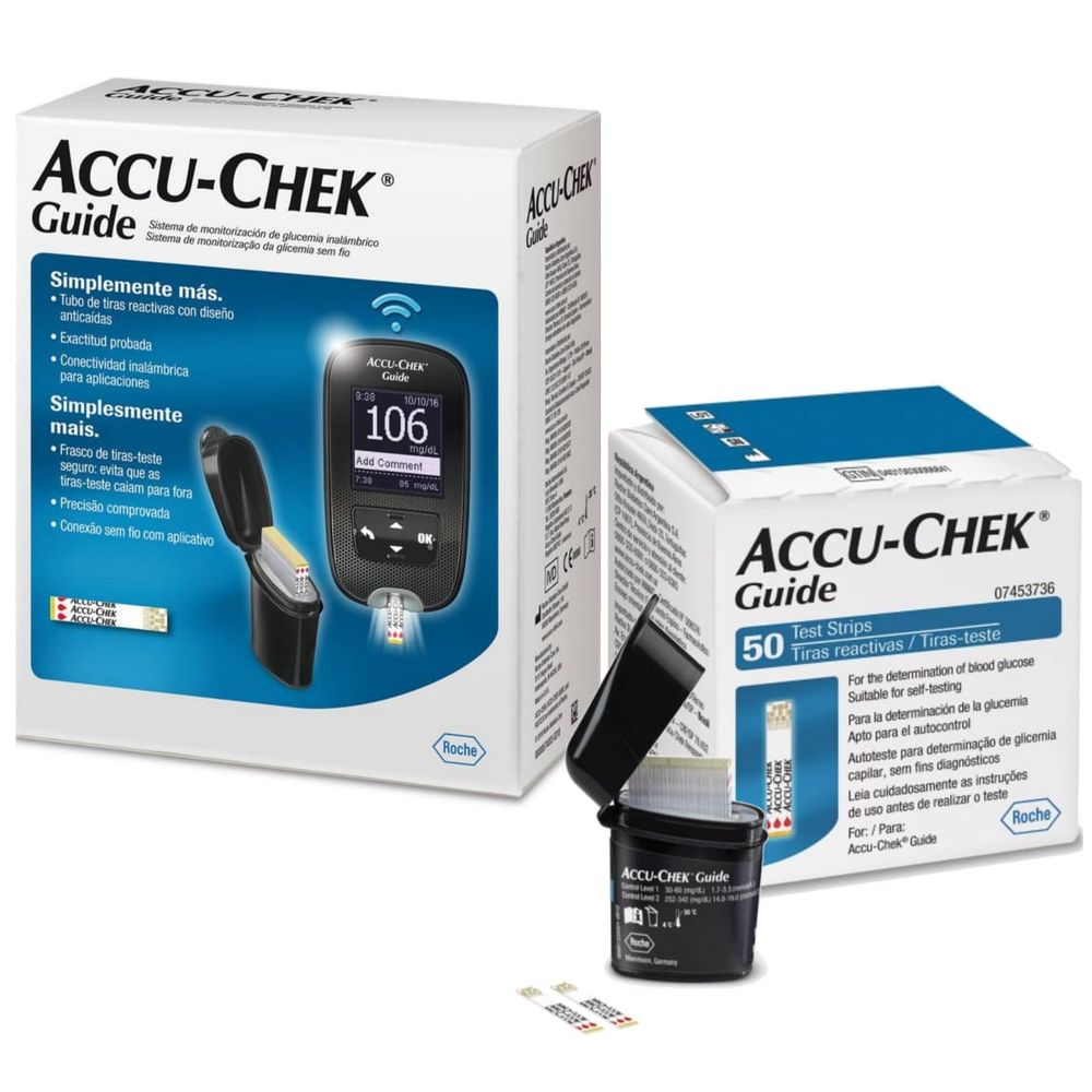 Kit Accu-Chek Guide (1 monitor, 1 lancetador, 6 lancetas, 10 tiras) + 50 tiras  - Diabetes On - Vendido e Entregue por Diabetic Center