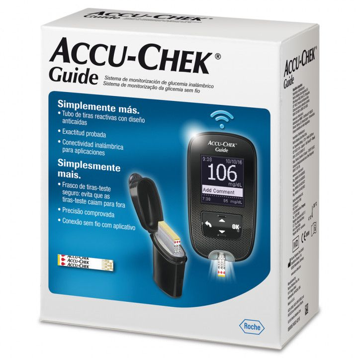 Kit Accu-Chek Guide (kit com 1 monitor, 1 lancetador, 06 lancetas, 10 tiras e estojo)  - Diabetes On - Vendido e Entregue por Diabetic Center