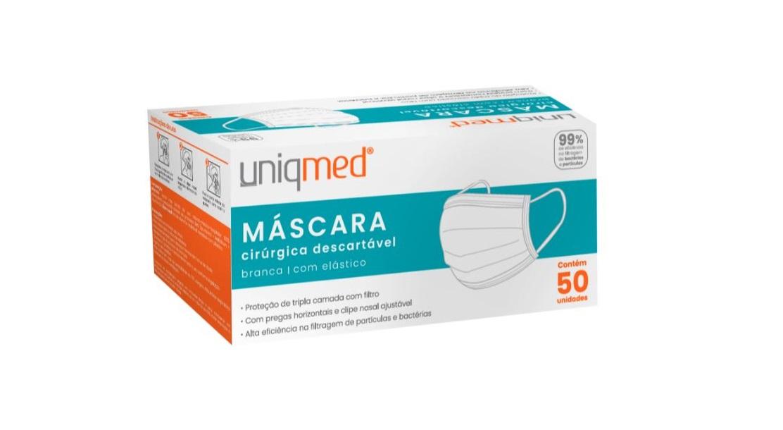 Máscara Cirúrgica Descartável Uniqmed 50un.  - Diabetes On - Vendido e Entregue por Diabetic Center