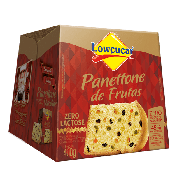 Panettone com Frutas Sem Adição de Açúcares Lowçucar - 400 g  - Diabetes On - Vendido e Entregue por Diabetic Center