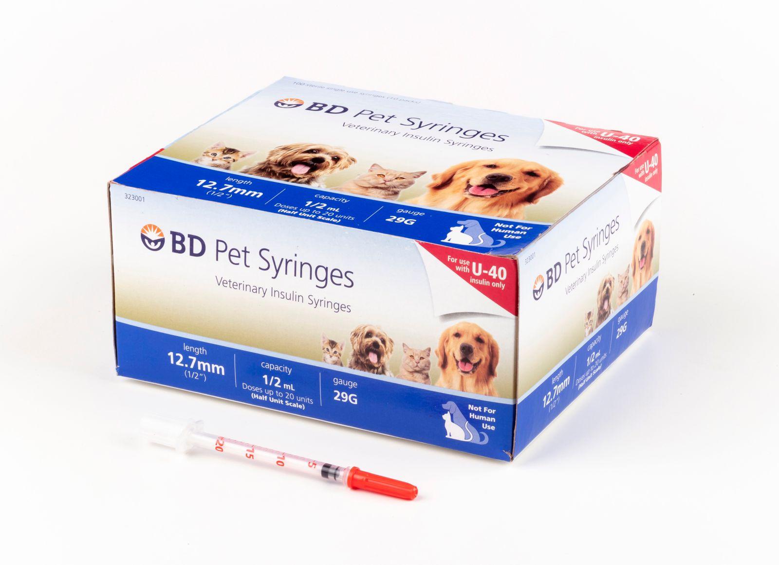 Seringa BD Pet Insulina U-40 para Cães e Gatos Caixa c/ 100un  - Diabetes On - Vendido e Entregue por Diabetic Center