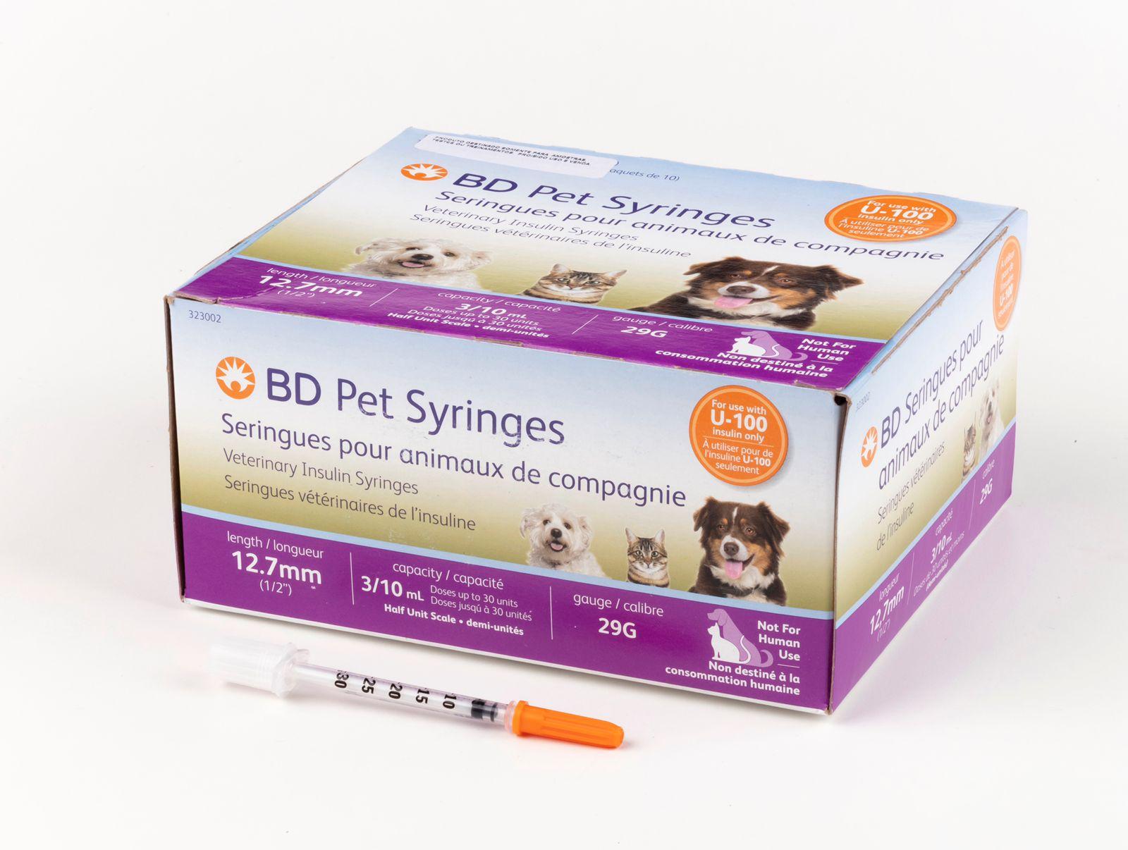 Seringa Becton e Dickinson Pet Insulina U-100 para Cães e Gatos Caixa c/ 100un  - Diabetes On - Vendido e Entregue por Diabetic Center