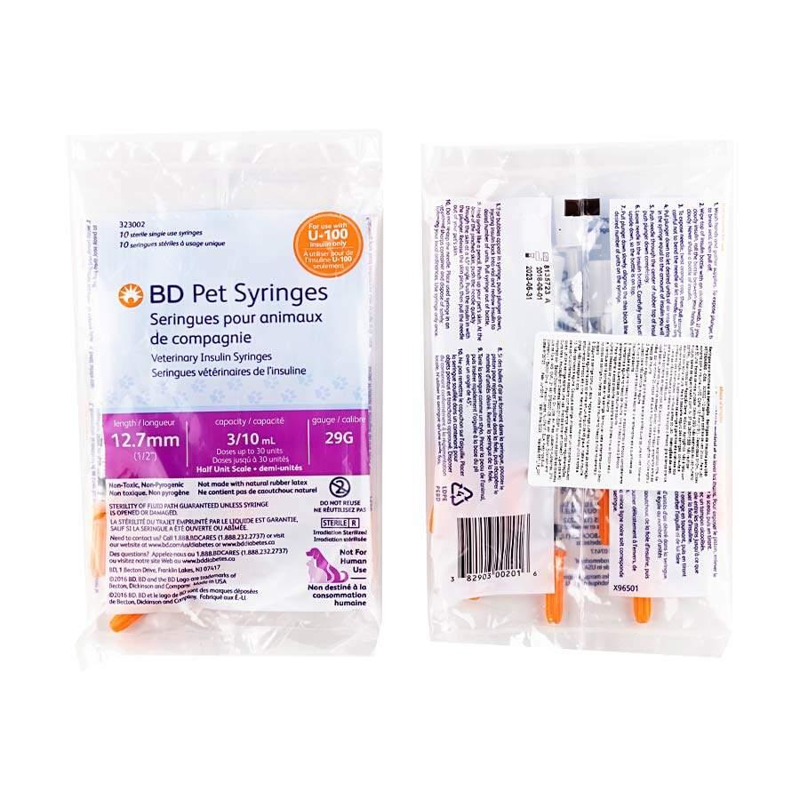 Seringa Becton e Dickinson Pet Insulina U-100 para Cães e Gatos Pacote c/ 10un  - Diabetes On - Vendido e Entregue por Diabetic Center