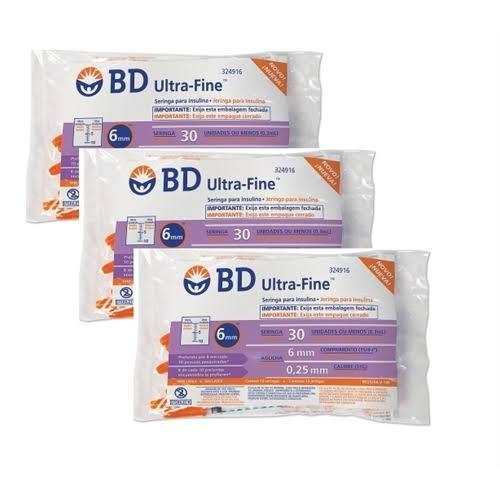 Seringa para Insulina BD Ultrafine 0,3mL (30UI) Agulha 6x0,25mm 31G - KIT com 30 seringas  - Diabetes On - Vendido e Entregue por Diabetic Center