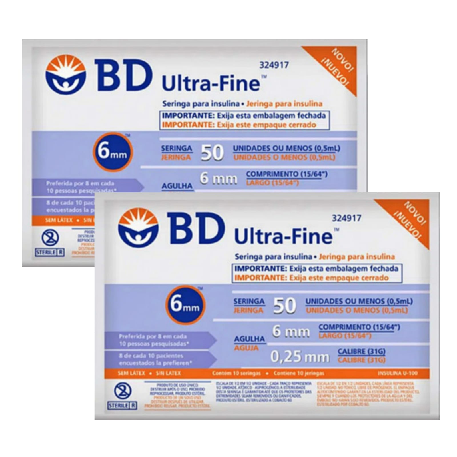 Seringa para Insulina BD Ultrafine 0,5mL (50UI) Agulha 6x0,25mm 31G - LEVE 2 PACOTESas  - Diabetes On - Vendido e Entregue por Diabetic Center