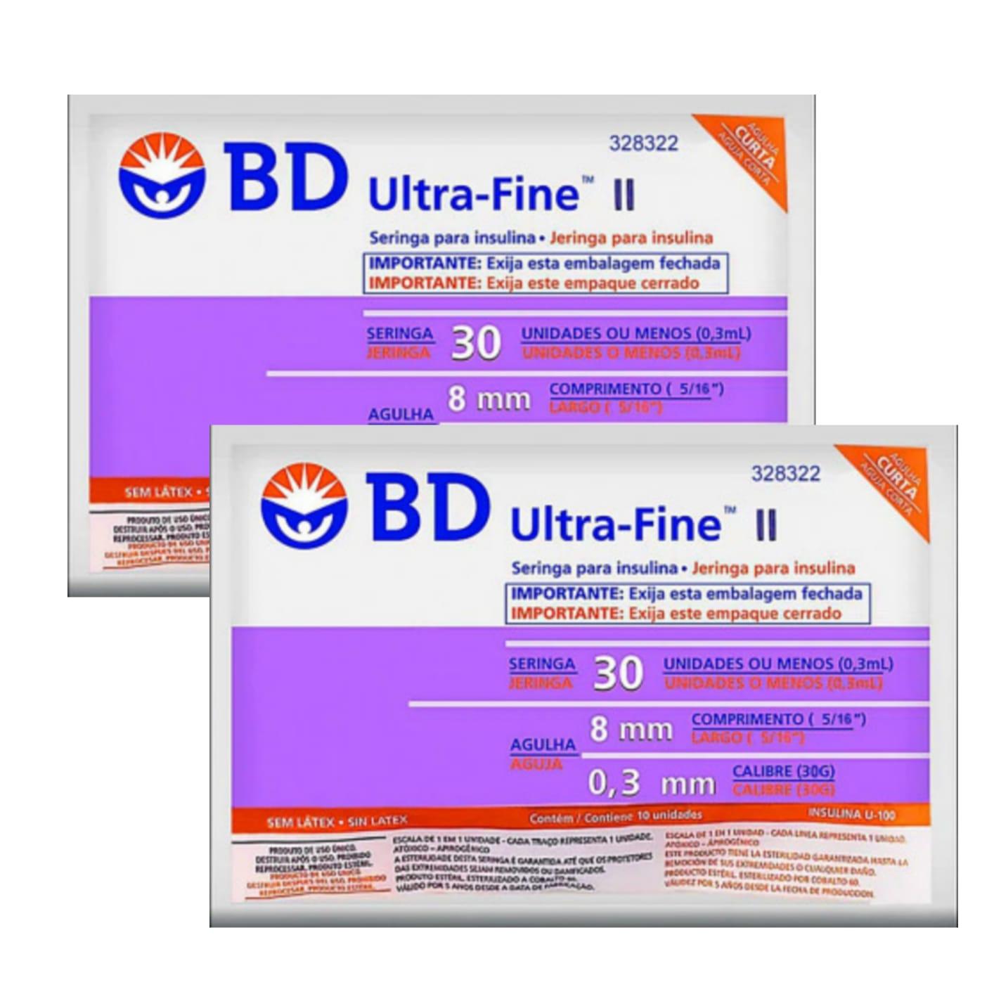Seringa para Insulina BD Ultrafine 0,3mL (30UI) Agulha 8x0,3mm 30G  - LEVE 2 PACOTES  - Diabetes On - Vendido e Entregue por Diabetic Center
