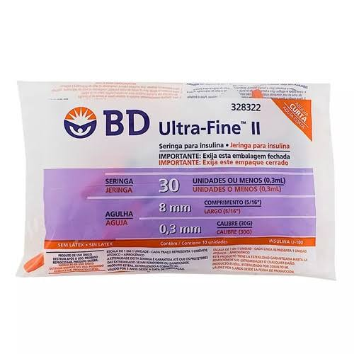 Seringa para Insulina BD Ultrafine 0,3mL (30UI) Agulha 8x0,3mm 30G - Pacote com 10 seringas  - Diabetes On - Vendido e Entregue por Diabetic Center