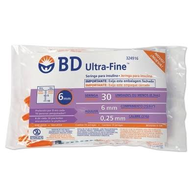 Seringa para Insulina BD Ultrafine 0,3mL (50UI) Agulha 6x0,25mm 31G - Pacote com 10 seringas  - Diabetes On - Vendido e Entregue por Diabetic Center