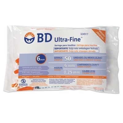 Seringa para Insulina BD Ultrafine 0,5mL (50UI) Agulha 6x0,25mm 31G - Pacote com 10 seringas  - Diabetes On - Vendido e Entregue por Diabetic Center