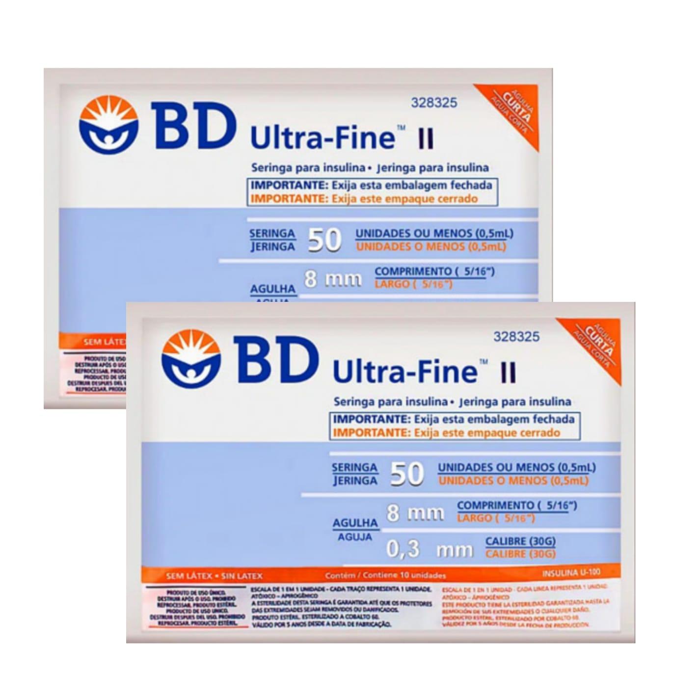 Seringa para Insulina BD Ultrafine 0,5mL (50UI) Agulha 8x0,3mm 30G - LEVE 2 PACOTES  - Diabetes On - Vendido e Entregue por Diabetic Center