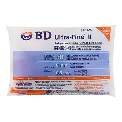 Seringa para Insulina BD Ultrafine 0,5mL (50UI) Agulha 8x0,3mm 30G - Pacote com 10 seringas  - Diabetes On - Vendido e Entregue por Diabetic Center