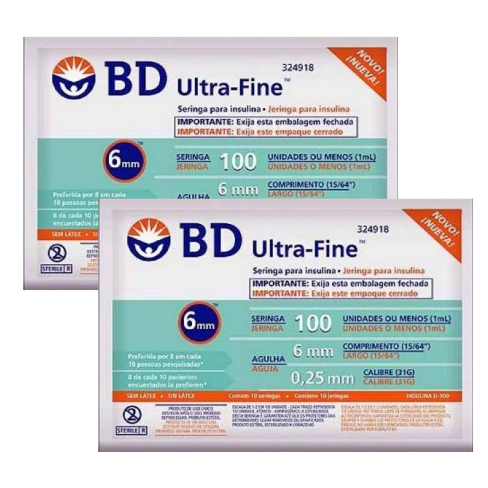 Seringa para Insulina BD Ultrafine 1mL (100UI) Agulha 6x0,25mm 31G - LEVE 2 PACOTES  - Diabetes On - Vendido e Entregue por Diabetic Center