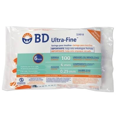 Seringa para Insulina BD Ultrafine 1mL (100UI) Agulha 6x0,25mm 31G - Pacote com 10 seringas  - Diabetes On - Vendido e Entregue por Diabetic Center