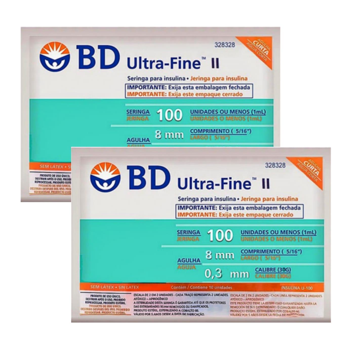 Seringa para Insulina BD Ultrafine 1mL (100UI) Agulha 8x0,3mm 30G - LEVE 2 PACOTES  - Diabetes On - Vendido e Entregue por Diabetic Center