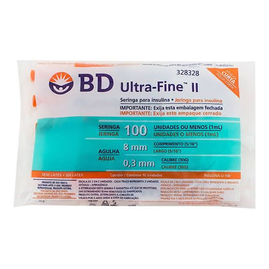 Seringa para Insulina BD Ultrafine 1mL (100UI) Agulha 8x0,3mm 30G - Pacote com 10 seringas  - Diabetes On - Vendido e Entregue por Diabetic Center