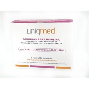 Seringa para Insulina Uniqmed 0,3mL (30UI) Agulha 5x0,23mm 32G - Caixa com 100 seringas embaladas individualmente  - Diabetes On - Vendido e Entregue por Diabetic Center