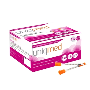 Seringa para Insulina Uniqmed 0,3mL (30UI) Agulha 6x0,25mm 31G - Caixa com 100 seringas  - Diabetes On - Vendido e Entregue por Diabetic Center